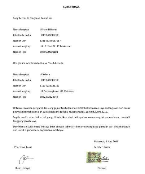 Format Surat Kuasa Yang Benar | Suratresmi.com