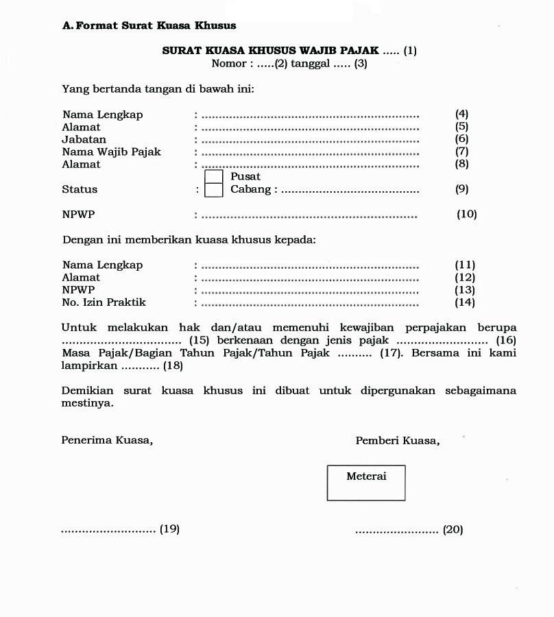 Contoh Surat Kuasa Khusus Istimewa Download Suratresmi Com