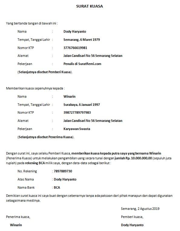Contoh Surat Kuasa Pengambilan Uang di Bank + Download ...