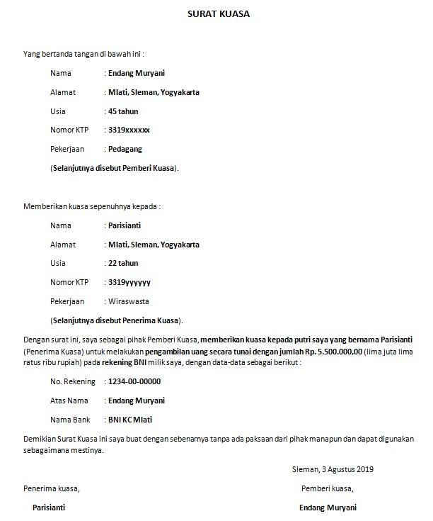 Contoh Surat Kuasa Pengambilan Uang Di Bank Download