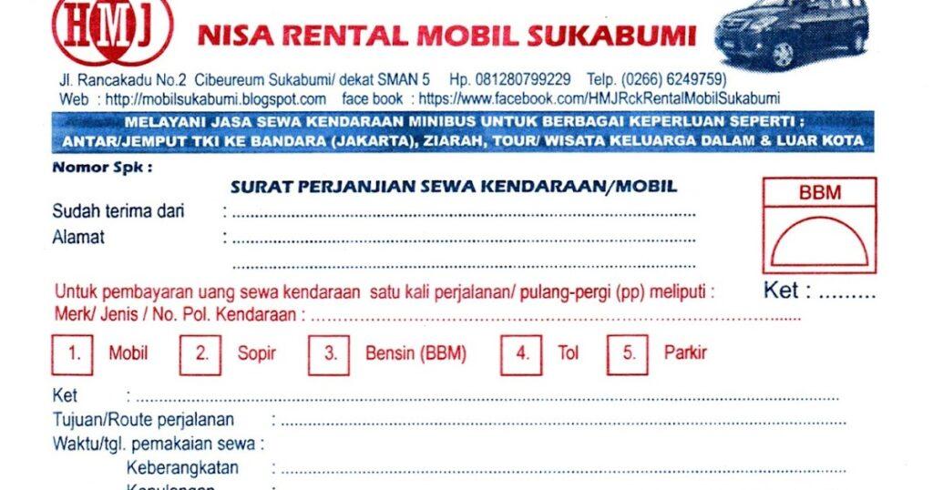 Nota Kosong Rental Mobil Satu Manfaat