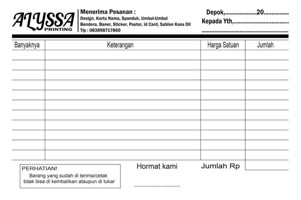 Contoh Bentuk Nota Penjualan Download Suratresmi Com