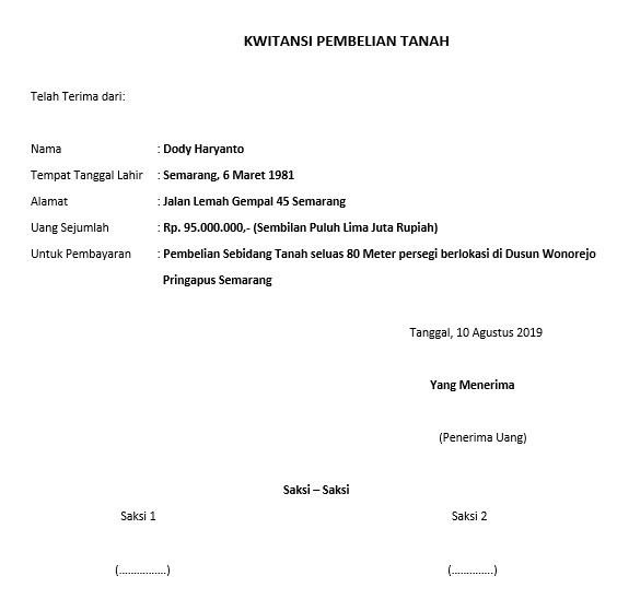 Membuat Surat Pernyataan Kwitansi Jual Beli Tanah