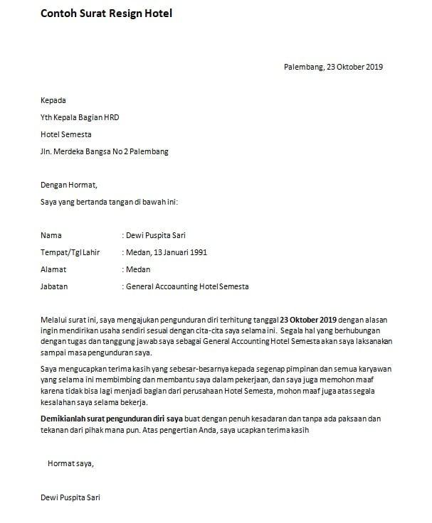 Contoh Surat Resign Terlengkap Download Suratresmi Com