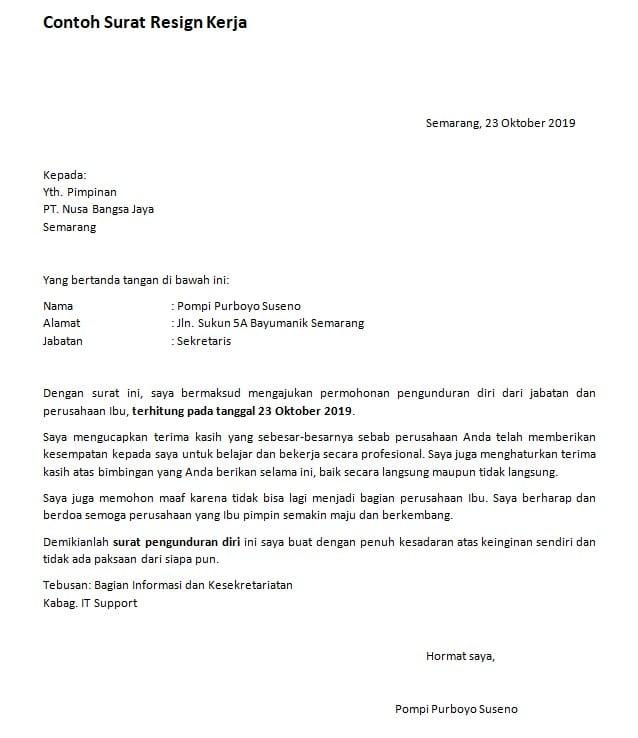 Format Surat Resign Kerja Yang Benar | Suratresmi.com