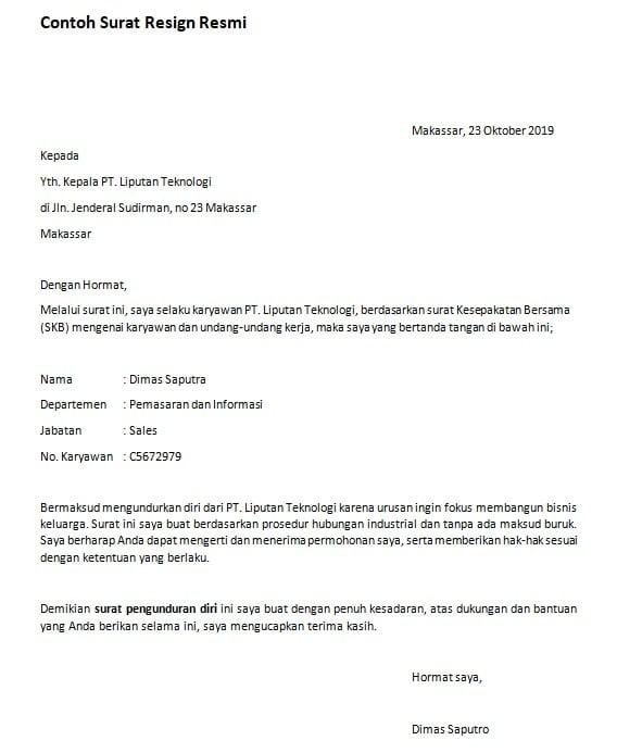 Pengertian Surat Resign Kerja dan Strukturnya | Suratresmi.com