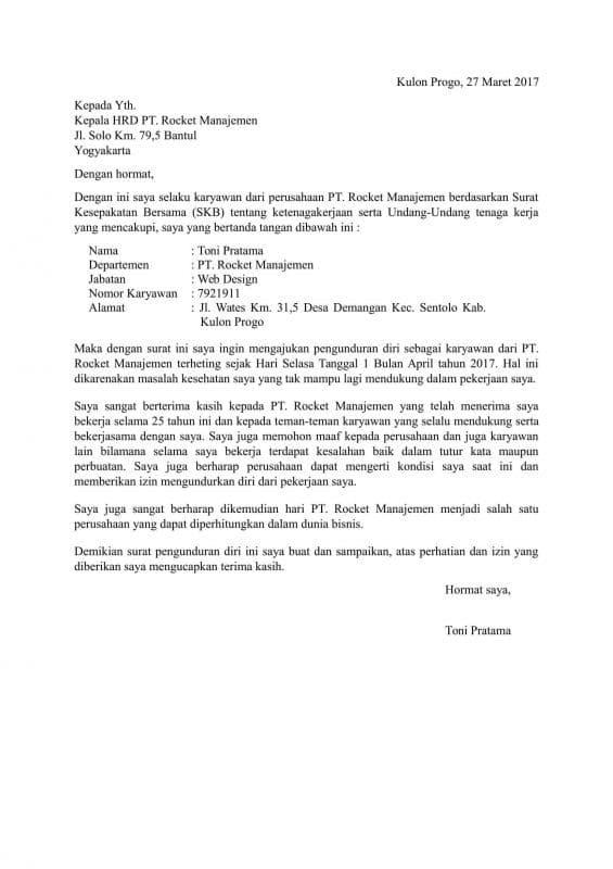 Contoh Surat Resign Terlengkap + Download | Suratresmi.com
